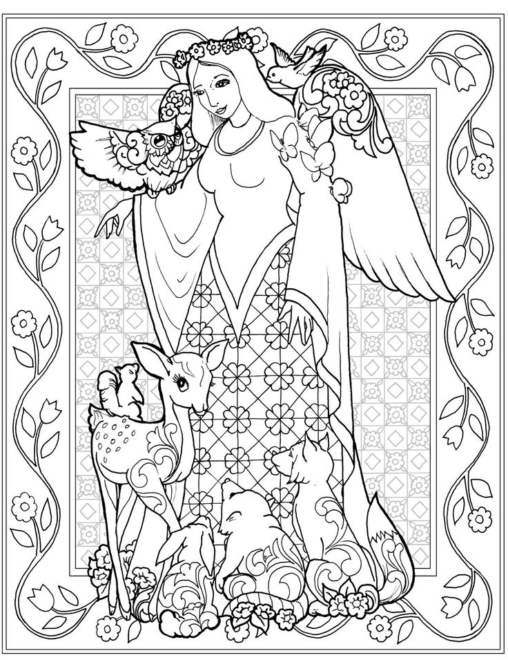 64 best Angels Coloring Pages for Adults images on Pinterest Adult
