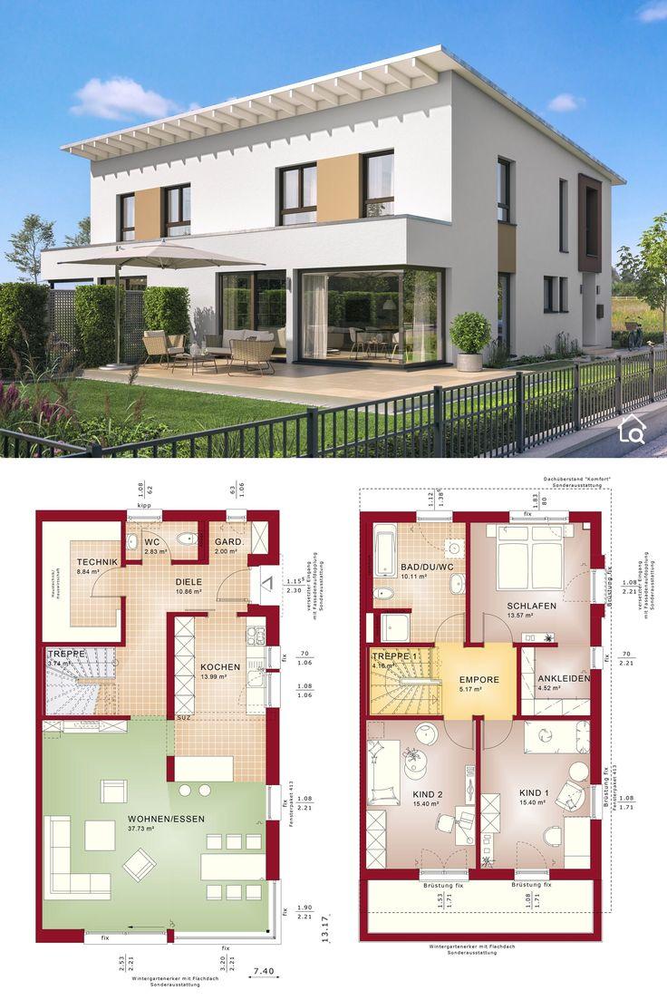 Doppelhaus modern Grundriss schmal mit Pultdach, 4 Zimmer