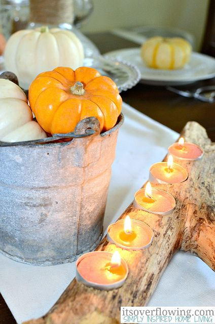 A log turned into a centerpiece. You would need some form of branch coming off of it (or nobs) to keep it from rolling over or saw off the bottom to create a flat surface before adding the holes for the tealights #fall #autumn #spring #summer #rural #minimalist