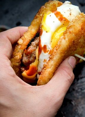 BREAKFAST SANDWICH with HOMEMADE SAUSAGE PATTY ~~~ hashbrown, smoky paprika garlic fennel breakfast sausage patty, sunny-side up egg, cheese, hot sauce [shutterbean]