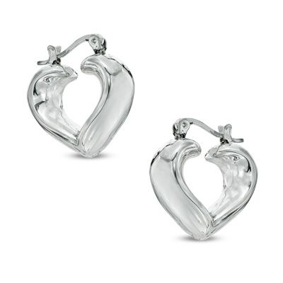 Heart Hoop Earrings in Sterling Silver Avail. at Zales