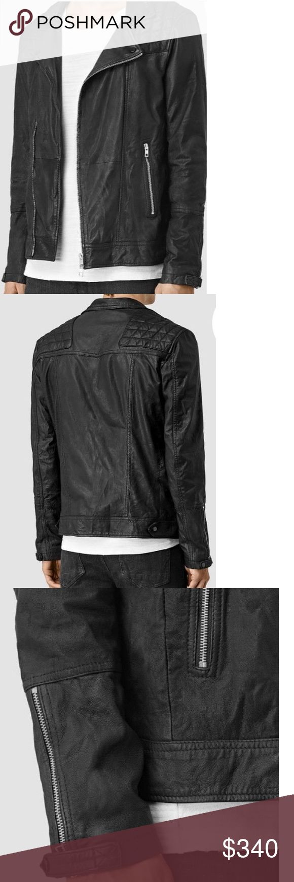 All Saints- Men's Kushiro Leather Biker Jacket All Saints- Men's Kushiro Leather Biker Jacket in Black, size large | a long running classic, this jacket embodies the spirit of rebellion. Washed and tumbled, the kid skin this jacket is crafted from has a rougher, tougher aesthetic. Naturally tanned, the Kushiro is created in India. NWOT. Retail Price: $560 All Saints Jackets & Coats