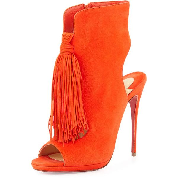 Christian Louboutin Ottaka Suede Fringe Open-Toe Red Sole Bootie ($1,405) ❤ liked on Polyvore featuring shoes, boots, ankle booties, cappucine, fringe booties, cut out booties, suede booties, open toe booties and ankle boots