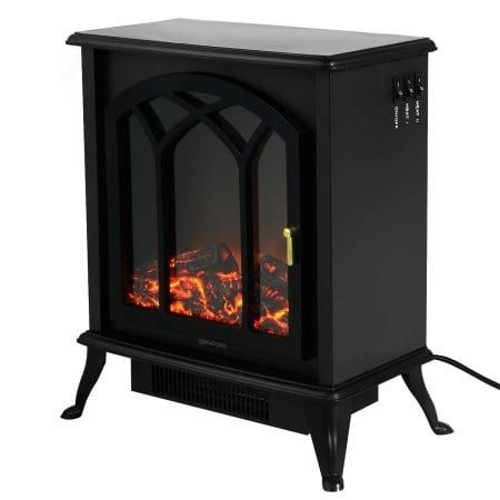 Costway Free Standing Electric 1500W Fireplace Heater Fire Flame Stove Wood Adjustable, Black