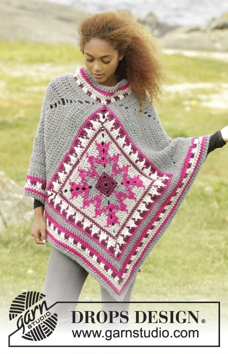 172-38 Desert Star - free crochet poncho pattern (with charts) in sizes: S/M - L - XL – XXL/XXXL by DROPS design. Multiple languages. Super chunky yarn.