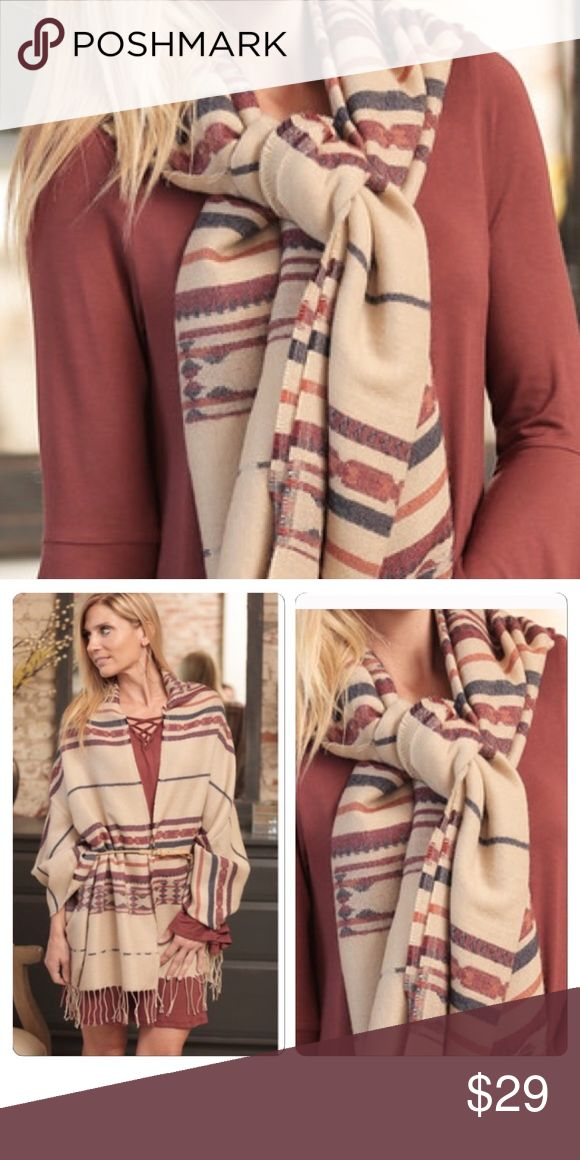 Aztec Fringed Blanket Scarf This cozy Aztec scarf is a fall must have! Shades of red, orange and navy make it perfect for any outfit! 100% acrylic. Infinity Raine Accessories Scarves & Wraps