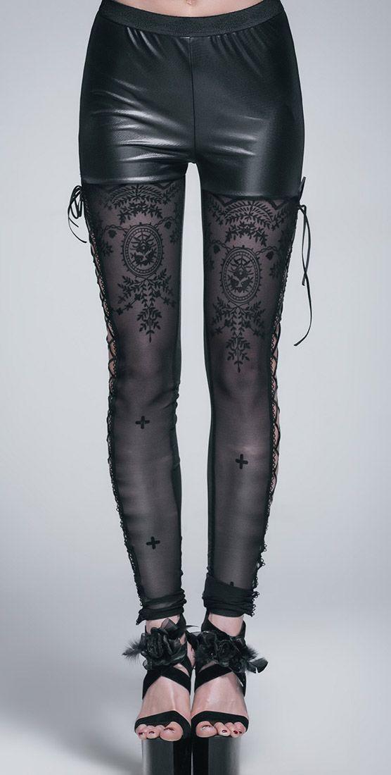 Leggings semi transparent, ornements floraux et croix, élégant gothique romantique