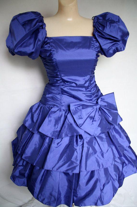 Blue 2 piece prom dress 1980