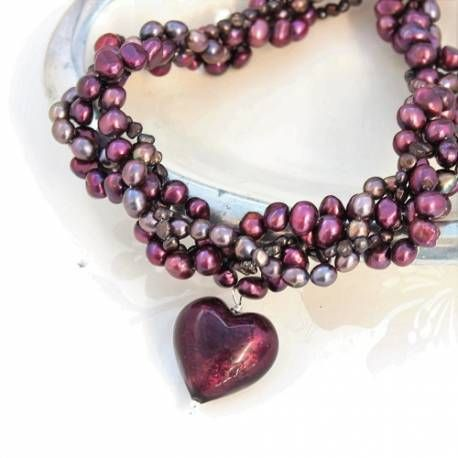 statement amethyst coloured murano heart and pearl necklace handmade by bish bosh becca