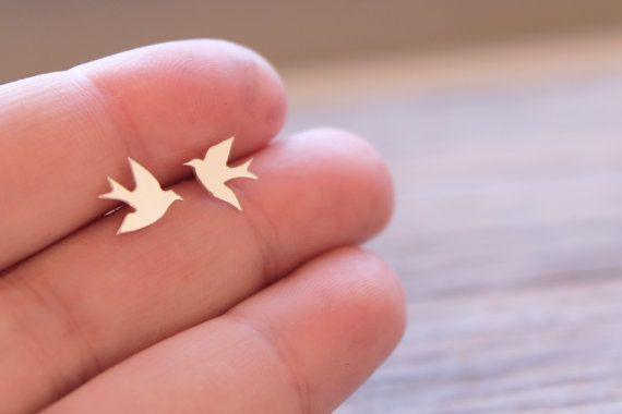 Silver Bird Studs / Handmade Swallow Earrings / Sterling Silver Swallow Bird Studs / Artisan Earrings / Blue Bird Earrings