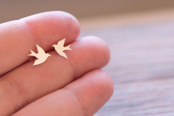Silver Bird Studs / Handmade Swallow by SweetNovemberJewelry