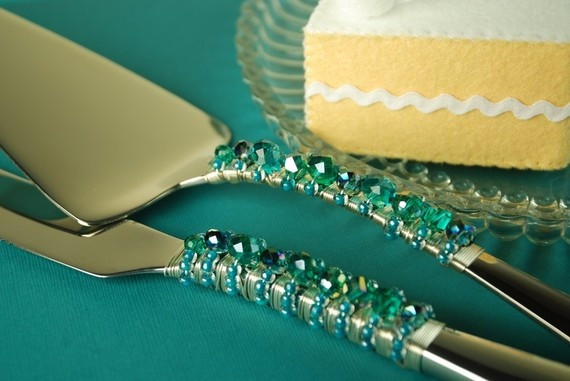 Teal  wedding cake server and knife set by TheVintageWedding, $59.99