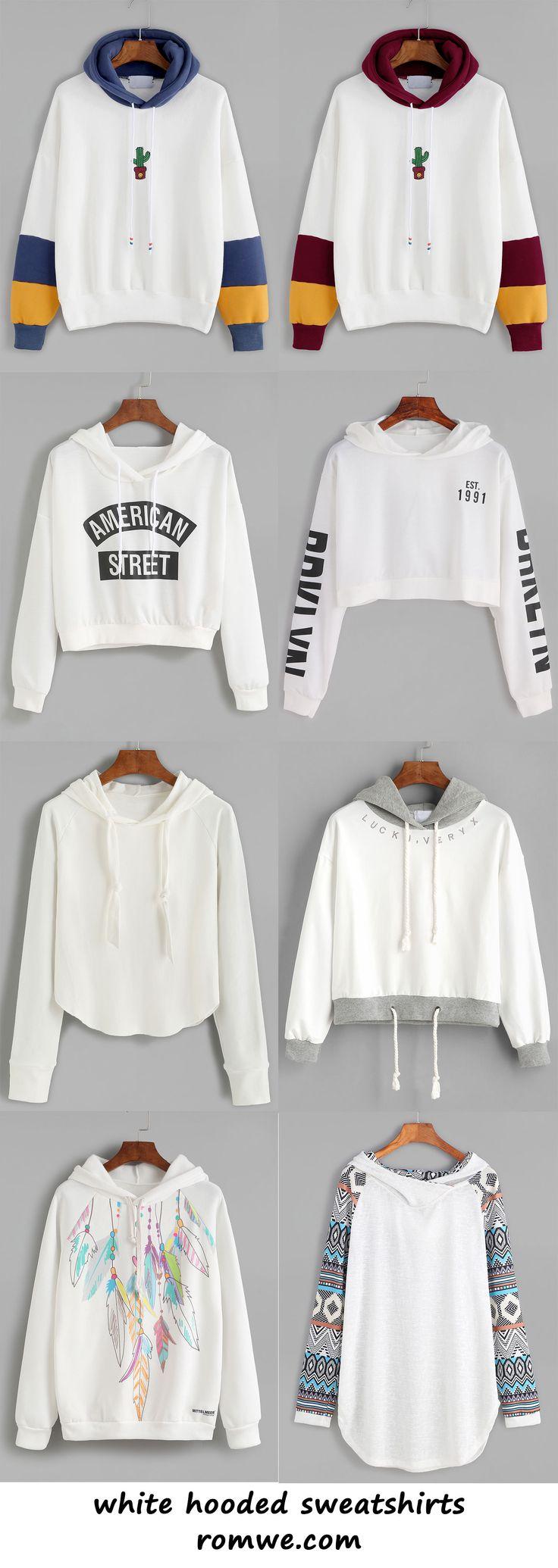 white hooded sweatshirts 2017 - romwe.com