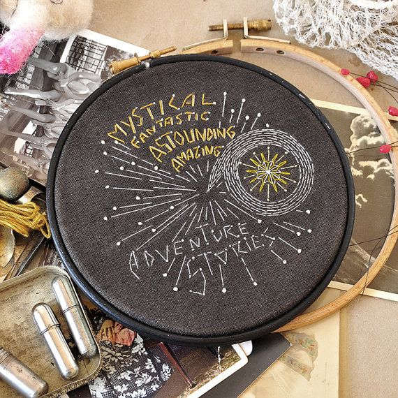 Modern hand embroidery pattern ADVENTURE STORIES by hallodribums