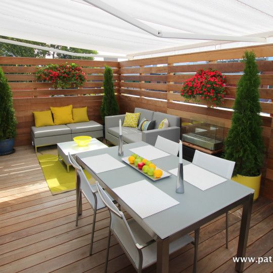 Rooftop terrace in ipe created for the actor patrice coquereau for an episode of tv show design v at canal vie with designer marie christine lavoie