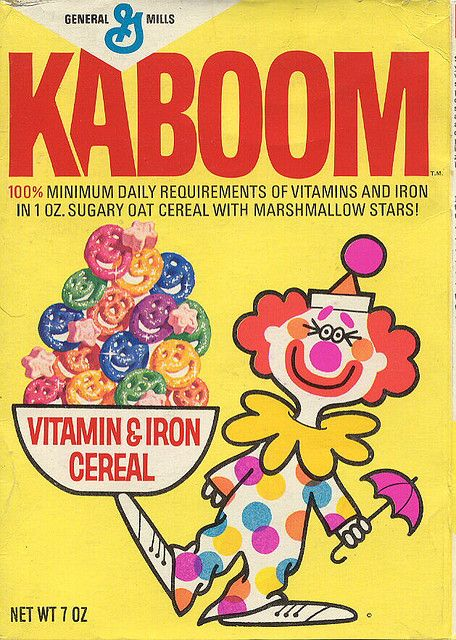 Kaboom Cereal - I remember how this stuff turned your milk a strange gray color - mmmmmmm! lol