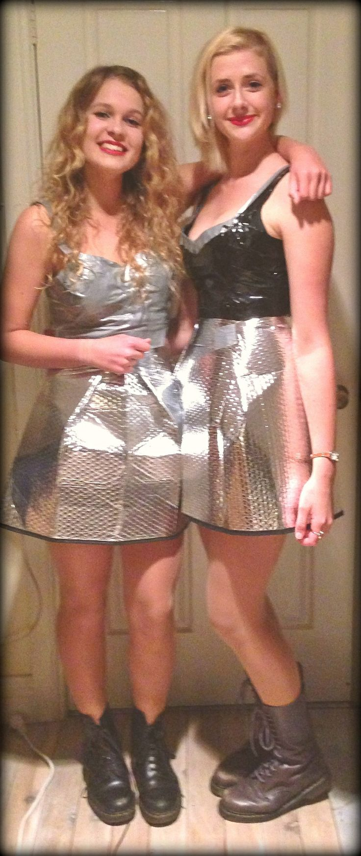 what to wear to an 'anything but clothes' party -> duct tape tops and car dashboard shade skirts! -Lucy