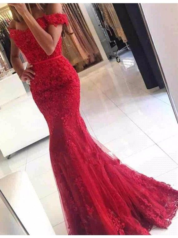 Prom Dress,Elegant Off the Shoulder Short Sleeveless Lace
