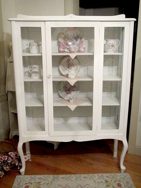 White China Cabinet with Queen Anne Legs    ($595.00)