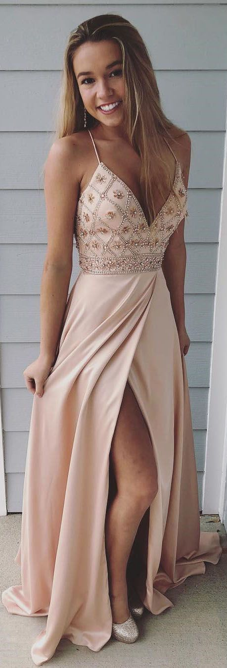 Sexy Spaghetti Straps Prom Dresses Blush Pink 2018 Long Prom Party Gowns Split Side