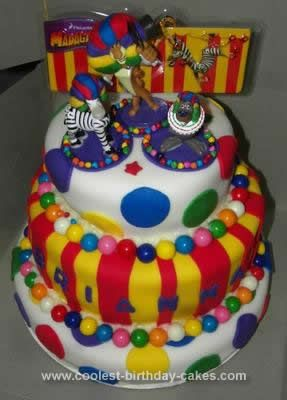 Homemade Afro Circus Polka Dot Birthday Cake: This Afro Circus Polka Dot birthday cake was created for my co-worker's daughter, Brianna, to celebrate her sixth birthday! If you've seen Madagascar 3