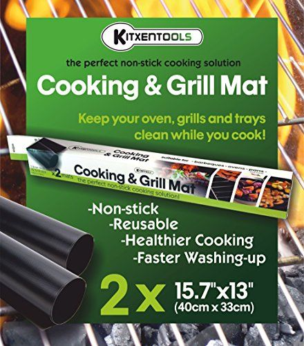 Kitxentools BBQ Grill Mat - Set of 2 Easy to Clean Non-Stick Grilling Mats - 15.75 x 13 Inch - Reusable Mats for Cooking or Grilling with Gas Grills Charcoal or Electric Barbecue Grills