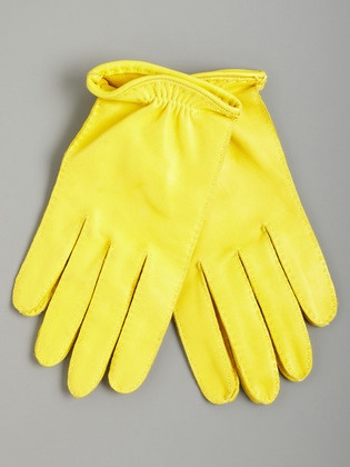 Marni short leather gloves in yellow.