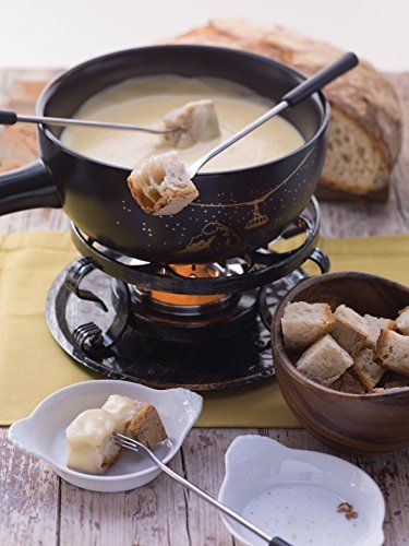 Fondue is a Swiss tradition - much like the raclette - that Swiss mar specializes in. The Swiss mar Gruyere 9 Piece Ceramic Fondue Set is great for cheese, meat and chocolate fondue, providing simple, fun and elegant entertaining for any dinner party. Fondue is a simple dish shared at the table heated over