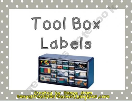 Tool box organizer labels prek 8th grade pinterest for Kitchen cabinets lowes with permit box stickers