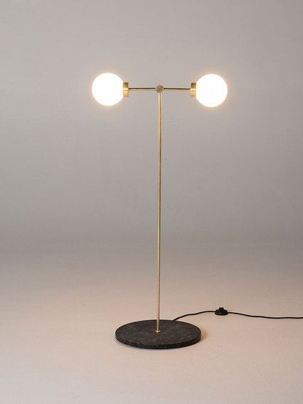 PARE Floor Lamp 02 - White Glass and Noir Marble