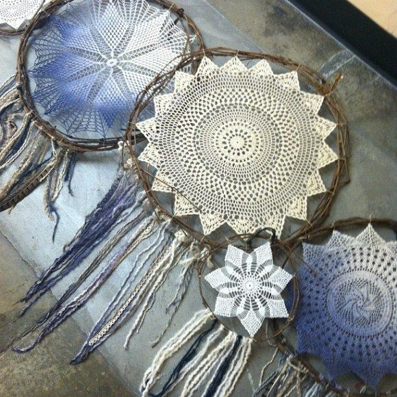 DIY Dream Catchers from Free People...I don't have to buy the Doilies, I can make those too!
