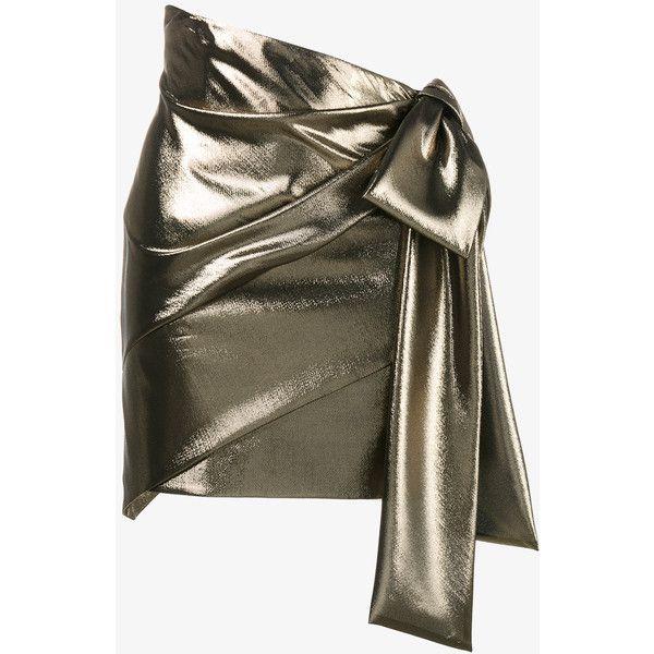 Saint Laurent Asymmetric Draped Mini Skirt ($1,655) ❤ liked on Polyvore featuring skirts, mini skirts, bottoms, brown mini skirt, mini skirt, yves saint laurent, metallic skirts and short mini skirts