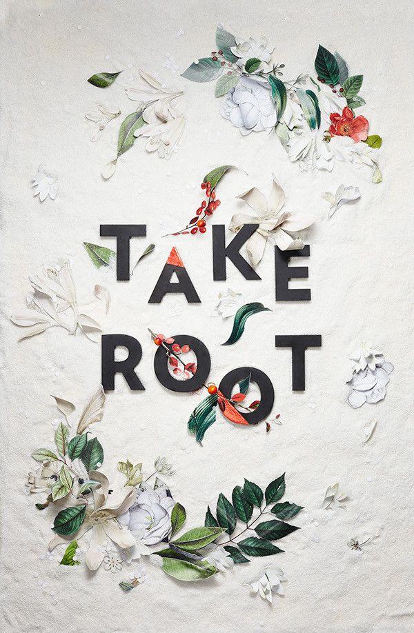 layout / fabric flowers / typography / via designspiration
