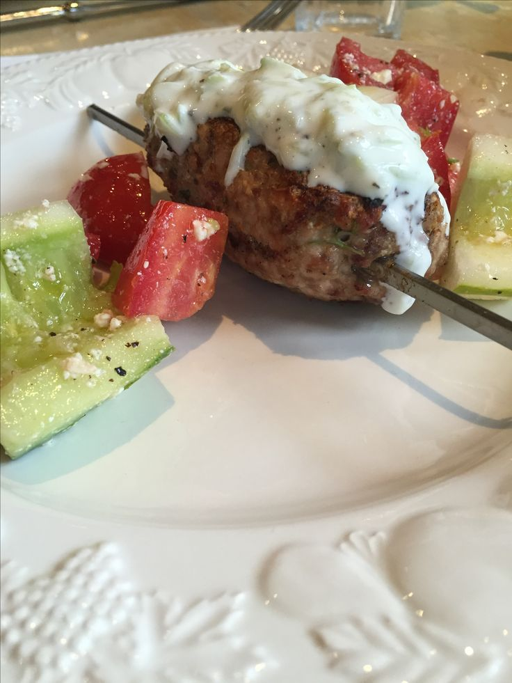 Benj made Sunday Supper and this week is was grilled Kofte Kebabs, Greek Salad and tzatziki.
