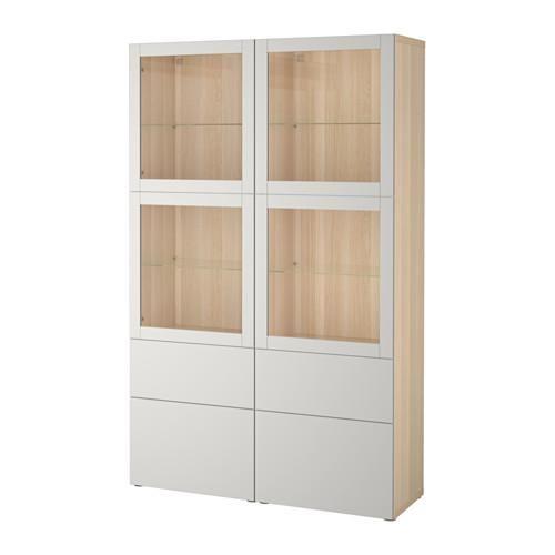BESTÅ kombination av d / förvaring   dörr glas - en blekt ek Sindvik / Lappviken ljusgrå transparent glas, styr lådan smidigt CLOSE
