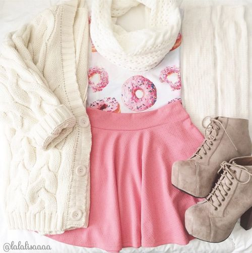 Donut top, pink skirt, brown boots, cream crocheted cardigan, cream scarf