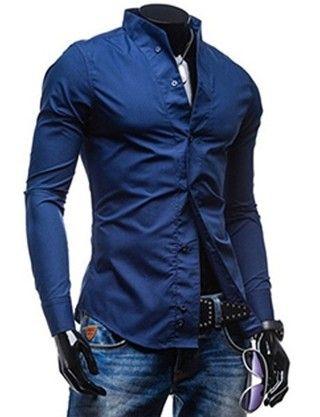 Camisa Casual Fashion de Diseño Exclusivo - sin Cuello - en Azul, Blanco y Negro