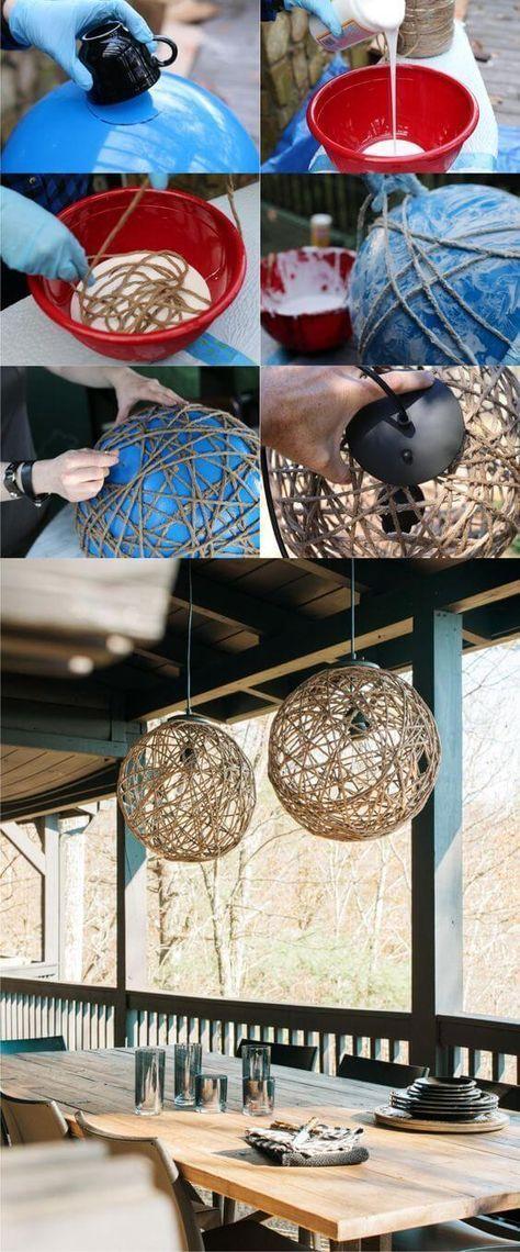 Natürliche Schnur DIY Party Deco Bastelideen mit Lichterketten – Anleitung   – Ideen für den Haushalt