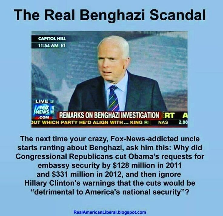The Real Benghazi Scandal.   Their all crooked,...most anyway. Time to empty out the lifer politician and their lineage and start new with people of today who are NOT bound by money or secret organizations