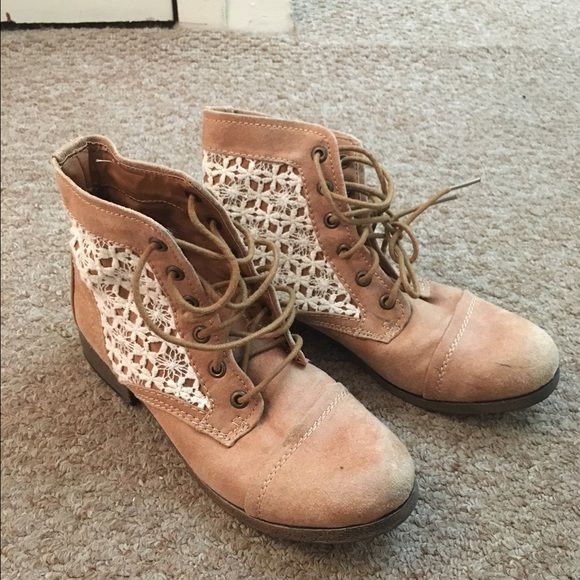 Light Brown (almost beige) Looks washed out in picture above but Brown combat boots with a cute lace detailing. Never worn before, outside of store after trying them on. #cute #boots #booties Shoes