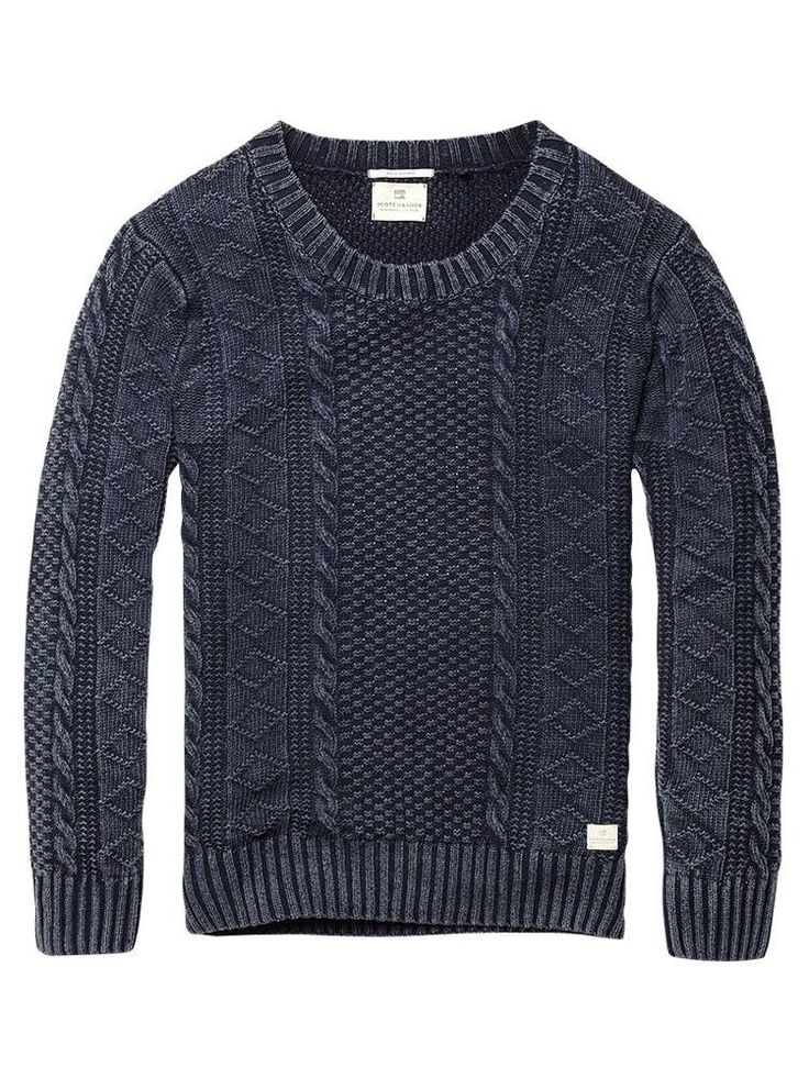 scotch & soda -Cable knitted crew neck pull - navy - XXL