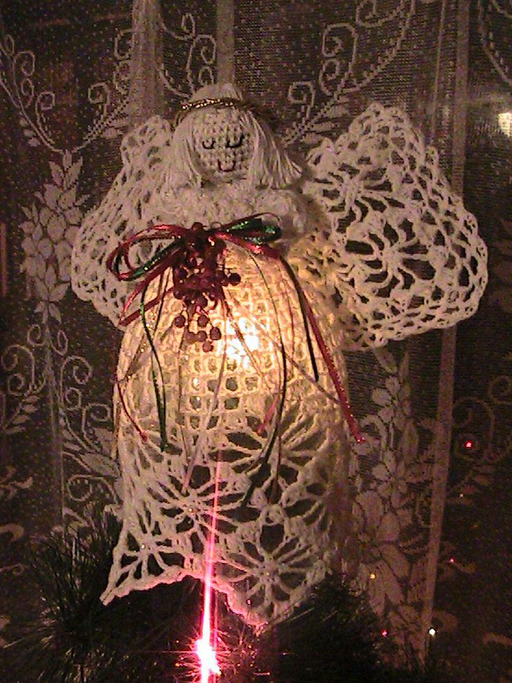 mi ángel a ganchillo adorno la punta del árbol de navidad