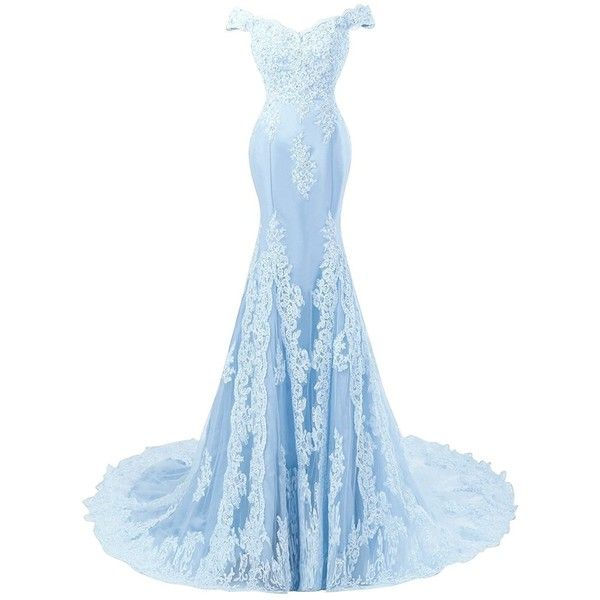 Amazon.com: Himoda Women's V Neckline Beaded Evening Gowns Mermaid... ($89) ❤ liked on Polyvore featuring dresses, gowns, long lace dress, long prom dresses, long gown, white prom dresses and long evening dresses