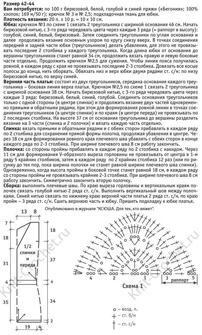 Выкройка, схемы узоров с описанием вязания крючком женского платья с геометрическим узором размера 42-44.