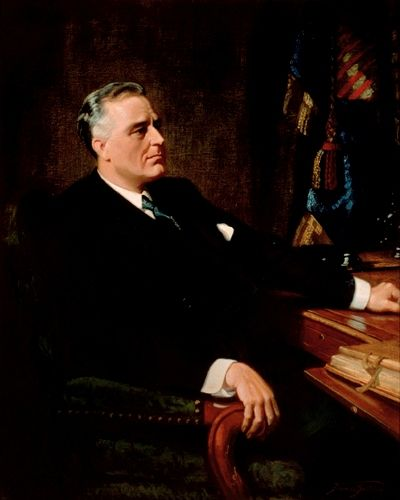 Franklin D.Roosevelt (FDR) 32nd US President. The only American president elected to more than 2 terms.