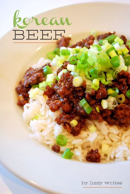 korean beef: 1 pound lean ground beef  1/4 - 1/2 cup brown sugar (I like it sweet so I usually do closer to 1/2 cup)  1/4 cup soy sauce (I use low-sodium)  1 Tablespoon sesame oil  3 cloves garlic, minced  1/2 teaspoon fresh ginger, minced (see note)  1/2 - 1 teaspoon crushed red peppers (to desired spiciness)  salt and pepper  1 bunch green onions, diced (don't skip this!)