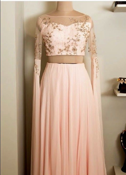 1c71ce952d Beautiful Hand Embroidered Silk and Net Dress with modern sleeves ...