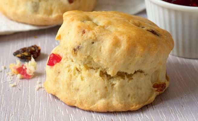 Mary Berry's Special Fruit Scones ~ recipe from her 2011 cookbook '100 Cakes and Bakes' ~ #GBBO | via My Kitchen Table (UK)