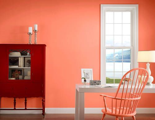 Valspar amber rose peach paint color this is not a - Coral paint color for living room ...