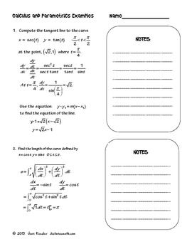 Calculus BC  Parametric Equations  Task Cards  Guided Note